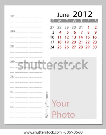 Simple 2012 calendar, June.  All elements are layered separately in vector file. Easy editable. - stock vector