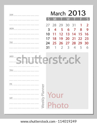 Simple 2013 calendar, March. All elements are layered separately in vector file. Easy editable.