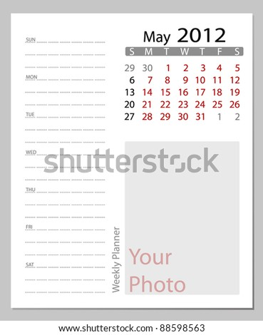 Simple 2012 calendar, May.  All elements are layered separately in vector file. Easy editable.