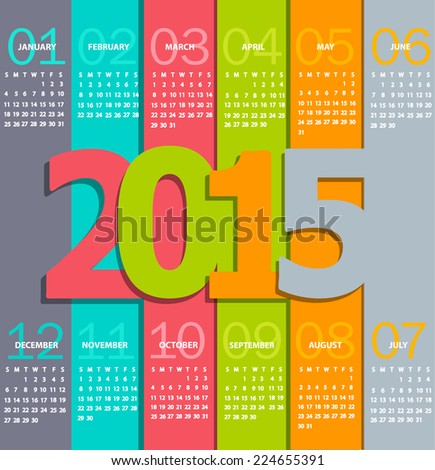 Simple 2015 Calendar. Months, made in the paper style  with shadows, vector. - stock vector
