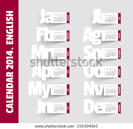 Simple 2014 Calendar. Months, made in the style of notes with shadows - stock vector