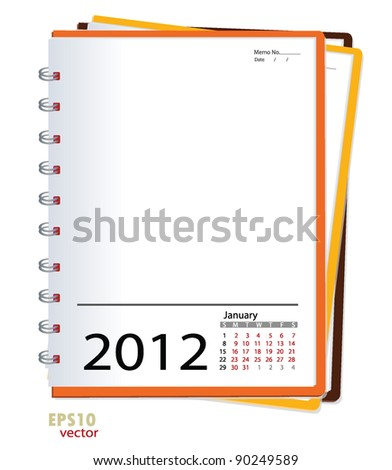 Simple 2012 calendar notebook ,January. All elements are layered separately in vector file. Easy editable. - stock vector