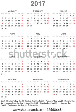 Simple Calendar 2017 One Year Glance Stock Vector 425686684