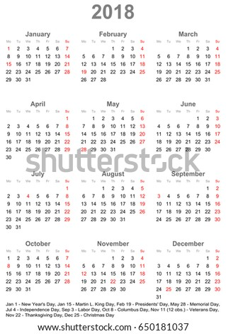 simple calendar 2018 one year glance stock vector 650181037 shutterstock