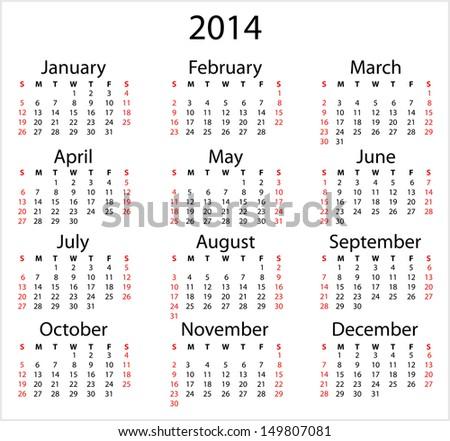 Simple 2014 calendar. Simple calendar template on white background, Sunday start. - stock vector