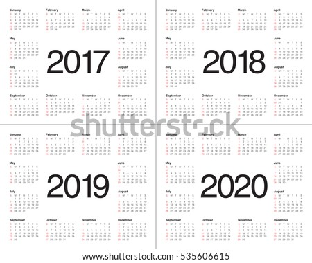 Simple Calendar template for 2017, 2018, 2019 and 2020