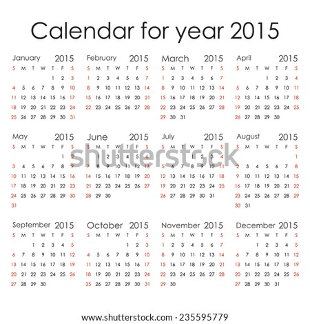 Simple 2015 Calendar - week starts with Sunday, isolated on white background, vector illustration. - stock vector