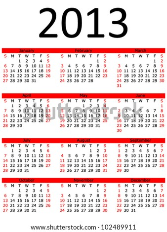 Simple 2013 Calendar with Red Bar (EPS 10) - stock vector
