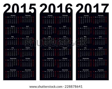 Simple Calendar year 2015, 2016, 2017, vector - stock vector