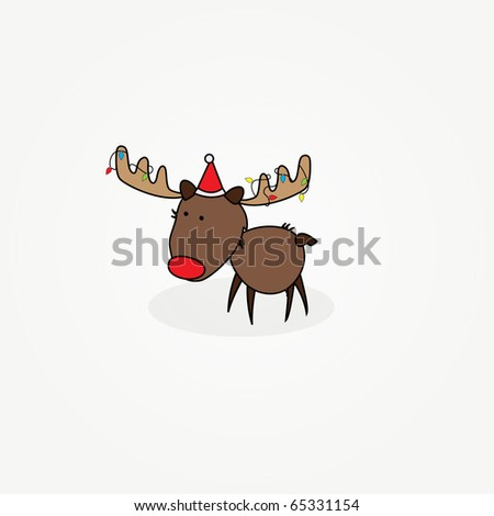 "Simple card illustration of ""Rudy"" the reindeer with a red nose  with lamps in antlers"