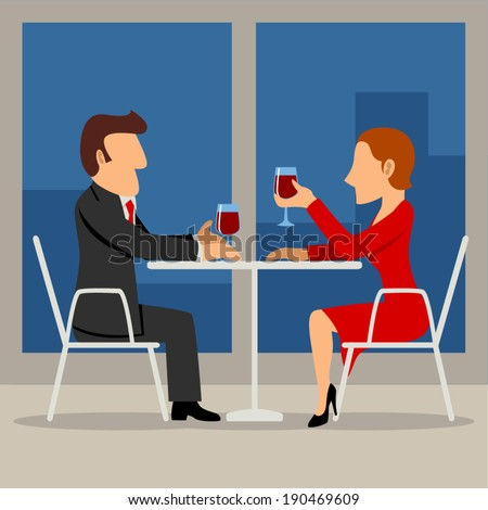 Simple cartoon illustration of a couple having a date - stock vector