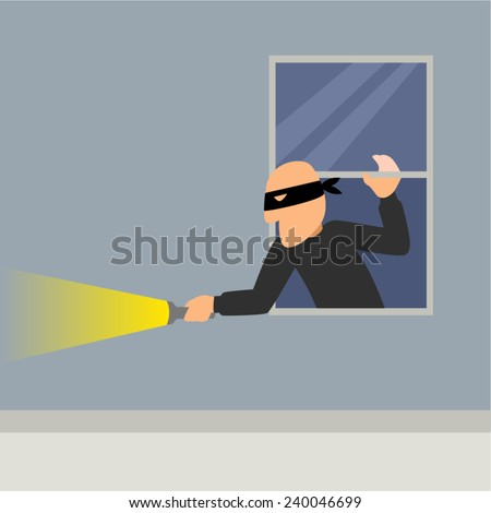 Simple cartoon of a burglar break into a house - stock vector