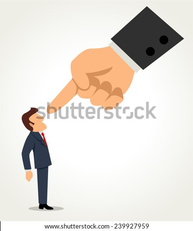 Simple cartoon of a businessman being pointed by giant finger - stock vector