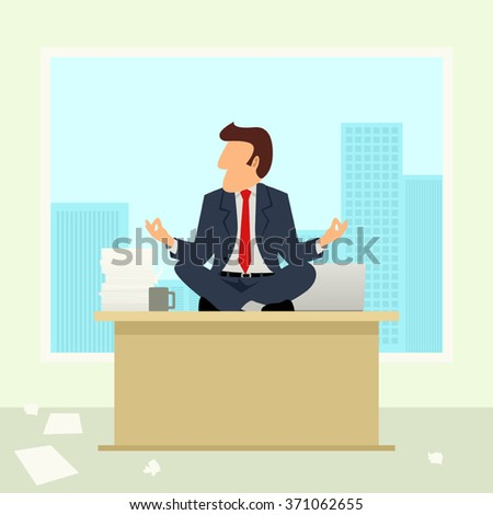 Simple cartoon of a businessman meditates on table. Anger management, relaxing, recharge, resting theme - stock vector