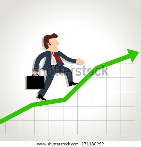 Simple cartoon of a businessman on graphic chart - stock vector