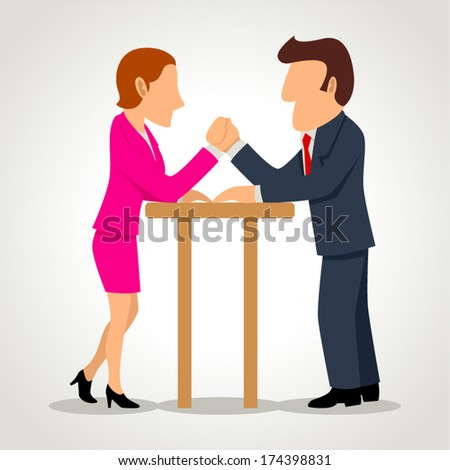 Simple cartoon of a businesswoman arm wrestling with a businessman - stock vector