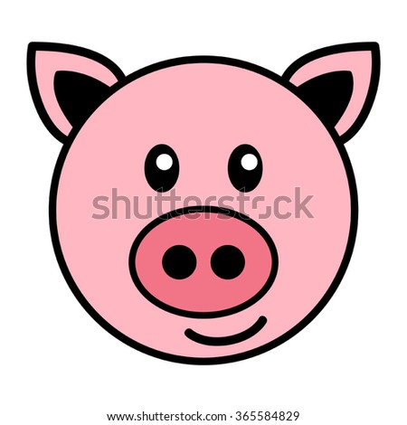 Simple cartoon of a cute pig - stock vector