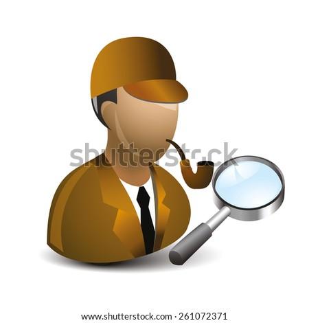 Simple cartoon of a detective - stock vector