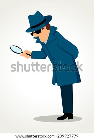 Simple cartoon of a detective holding a magnifying glass - stock vector