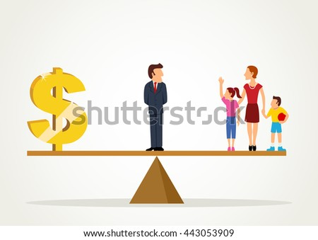 Simple cartoon of a man standing on a scale between dollar symbol and his family, business, balance between career and family concept - stock vector