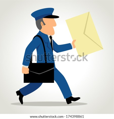 Simple cartoon of a postman delivering mail - stock vector