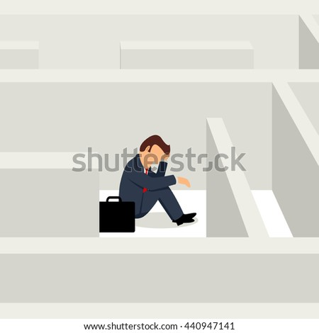 Simple cartoon of businessman sitting frustratedly in the maze, business, confuse, stress concept - stock vector