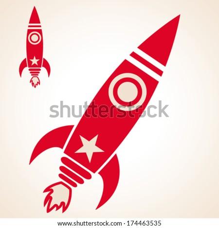 simple cartoon retro illustration of a rocket ship flying - stock vector