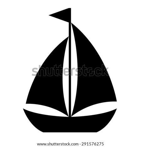 Simple cartoon sailboat icon of a small sailing vessel with two sails flying a flag from the mast in side view, design element on white, vector illustration - stock vector