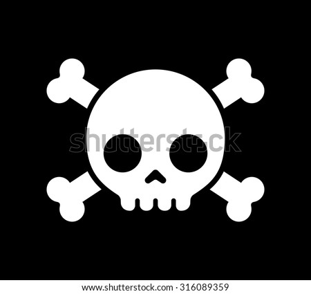 Simple cartoon skull and crossbones icon on a black background. Halloween design element, danger sign, or pirate flag. - stock vector