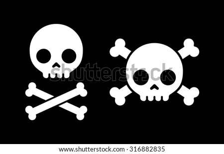 "Simple cartoon skull and crossbones icon, two variants. Halloween design element or classic ""Jolly Roger"" pirate flag. - stock vector"