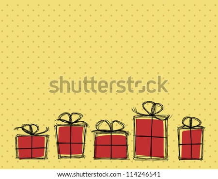 Simple cartoon style birthday card template with gift boxes standing in a row. Vector image. - stock vector