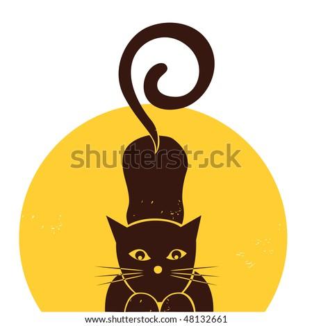 simple cat illustration - stock vector