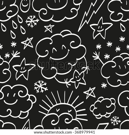 Simple children's doodle pattern. Doodle pattern with clouds. Cheerful cloud pattern. Seamless background pattern with weather events.