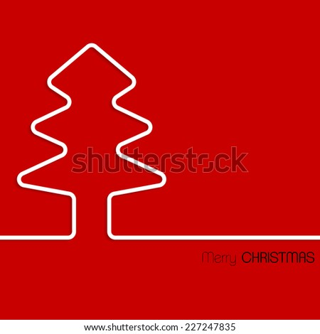 Simple christmas greeting card design with white line tree - stock vector