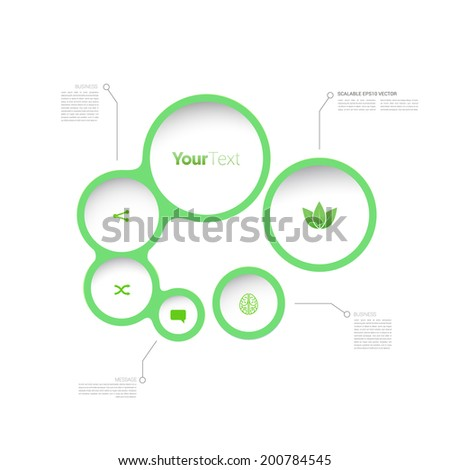 Simple, circular abstract geometric info chart elements for responsive flat menu design - stock vector