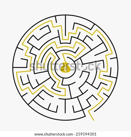 simple circular maze with prize icon isolated on white background - stock vector