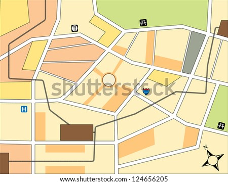Simple city map with rail road detail - stock vector