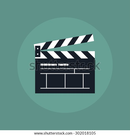 Simple clapper board icon in flat style. The concept of symbol video files. The open movie clapper board isolated from the background.  - stock vector