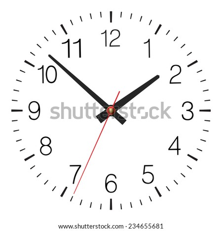 Simple classic vector clock placed on white - stock vector