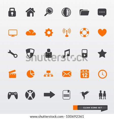 Simple & Clean Icon Set - vector design elements.