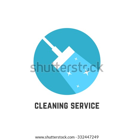 simple cleaning service logotype. concept of squeegee, purification, wet cleaning, mop, cleanup badge, sweeping. isolated on white background. flat style trend modern brand design vector illustration - stock vector