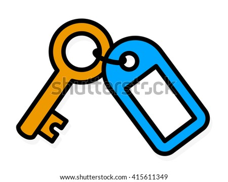 Simple colored outline vector drawing of a brass metal house front door key with a blue plastic tag with blank copy space - stock vector