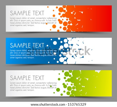 Simple colorful horizontal banners - with circle motive - red, blue and green - stock vector