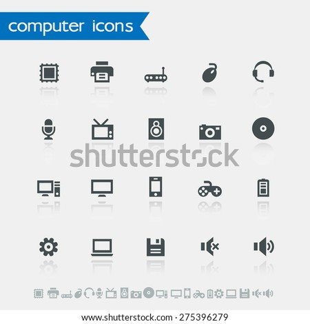 Simple computer icons with reflections