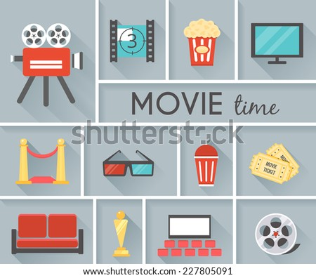 Simple Conceptual Movie Time Graphic Design with Gray Background. - stock vector