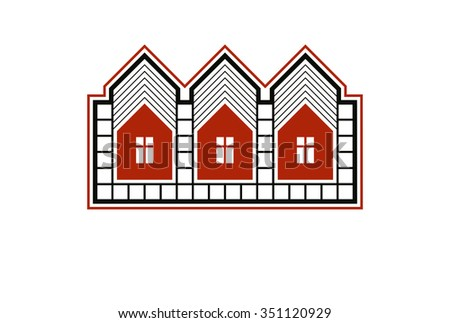 Simple cottages vector illustration, country houses, for use in graphic design. Estate concept, region or district theme. Building abstract image. - stock vector