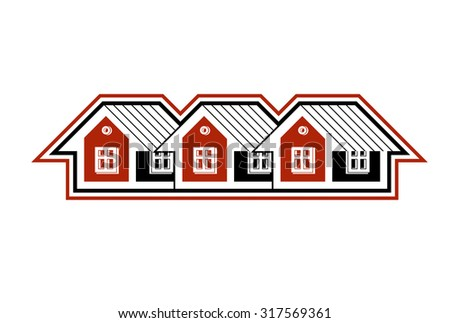 Simple cottages vector illustration, country houses, for use in graphic design. Real estate concept, region or district theme.  - stock vector