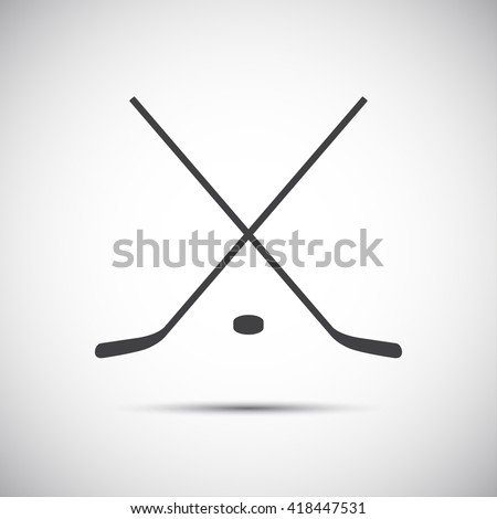Simple crossed hockey stick with puck, vector icon - stock vector