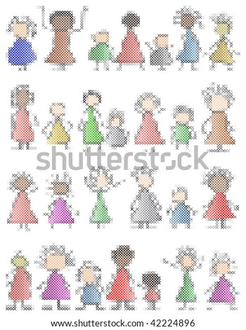 simple crossstitch children childlike unity - stock vector
