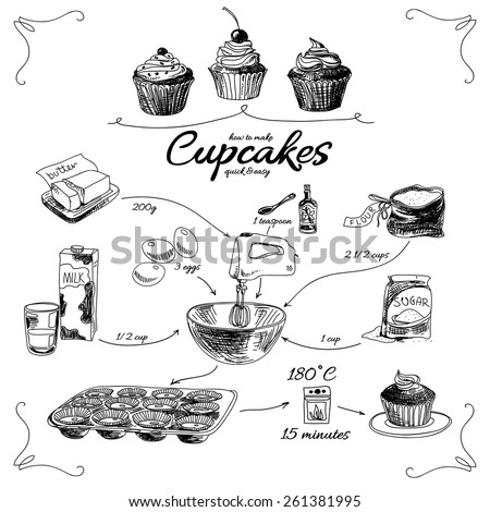 Simple cupcake recipe. Step by step. Hand drawn vector illustration. - stock vector